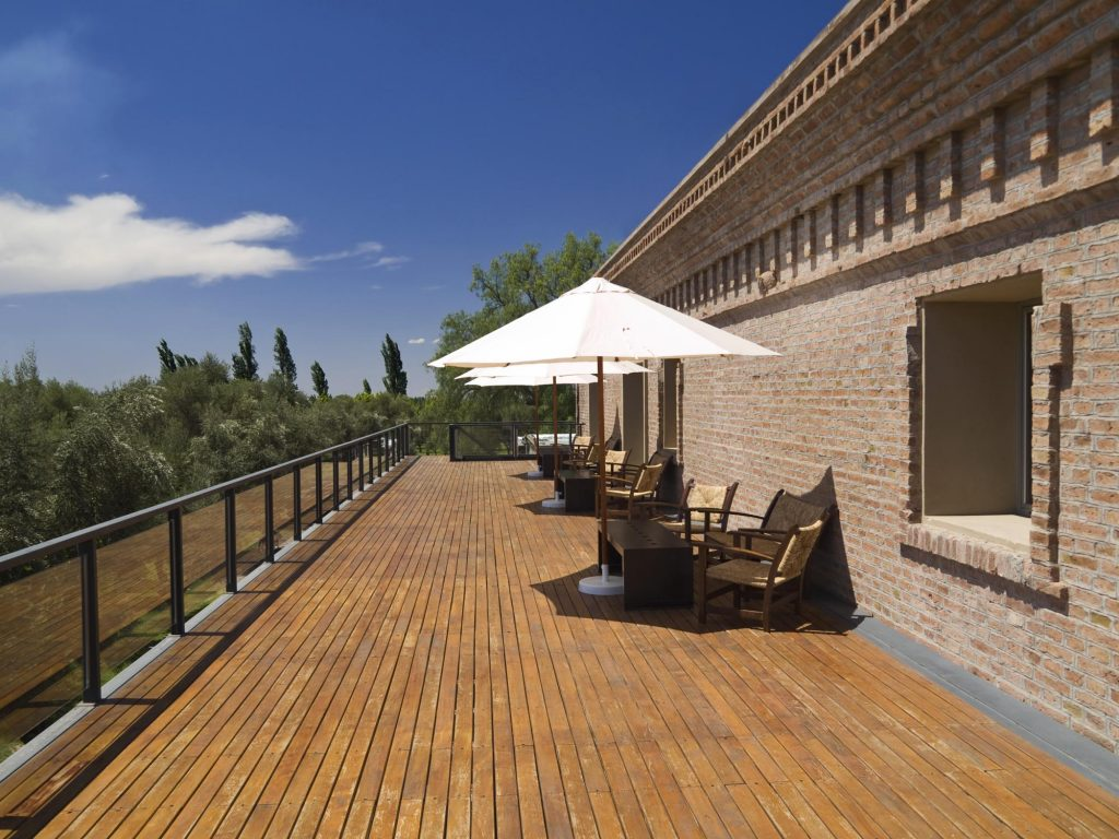 deck with umbrellas and chairs