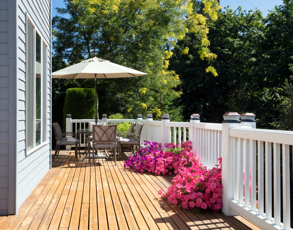 deck with many flowers